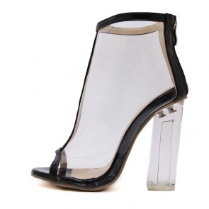 Black Transparent Summer Boot Sexy High Heels Fish Mouth Peep Toe Sandals
