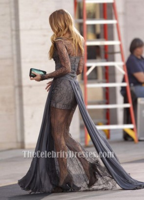 Blake Lively robe de bal en dentelle gris Gossip Girl robe de mode