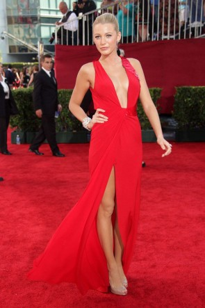 Blake Lively Sexy Red Evening Prom Dresses Emmy Awards 2009 Red Carpet