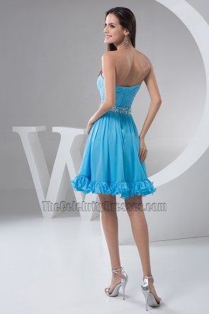 Blue Strapless A-Line Chiffon Cocktail Party Graduation Dresses