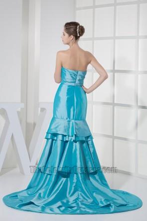 Blue Taffeta Strapless Prom Bridesmaid Dresses Formal Gown
