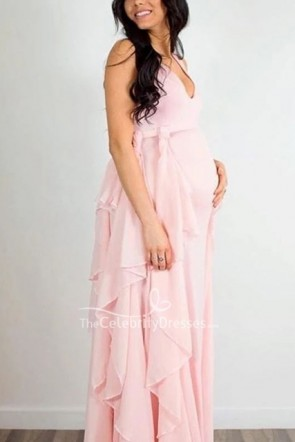 Chic Blushing Pink Sleeveless V-neck Maternity Dress for Photoshoot
