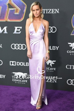 Brie Larson Lilac Spaghetti Straps Thigh-high Slit Slip Dress