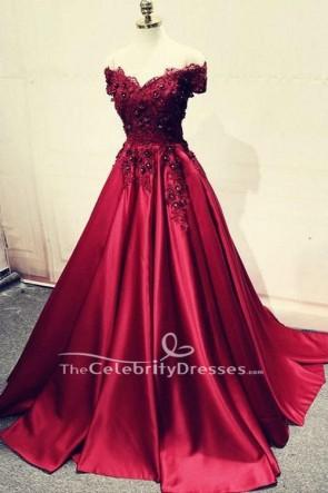 Burgundy Off-the-shoulder Embroidered Ball Gown V-neck Wedding Dress