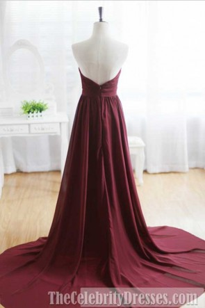 Burgundy Strapless A-Line Beaded Prom Gown Evening Formal Dresses TCDFD7390