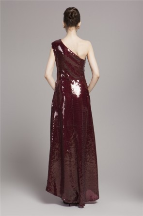 Burgundy Sequined One Shoulder Prom Gown Evening Dress