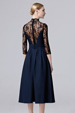 Girls Dark Navy Lace Party Dress Tea Length Cocktail Homecoming Dresses TCDC38002