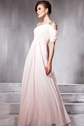 Chic One Shoulder Beaded Asymmetric Formal Prom Dress