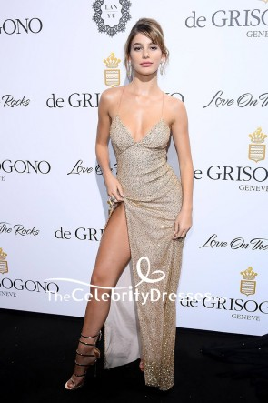 Camila Morrone Spaghetti Strap Backless Sequins Thigh-high Slit Evening Dress De Grisogono Party 70th Cannes Film Festival