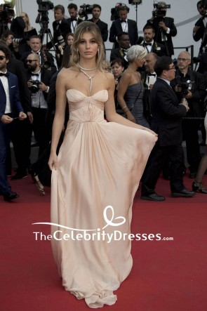 Camila Morrone Strapless Long Backless Evening Prom Dress 2017 Cannes Film Festival Red Carpet