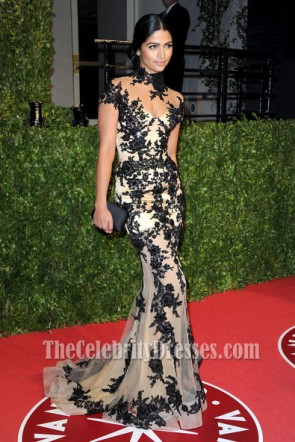 Camila Alves High Neck Black Embroidery Prom Dress 2011 Oscar Party