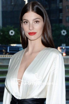 Camila Morrone Ivory And Black Low V-neck Sleeves Evening Dress 2019 CFDA TCD8543