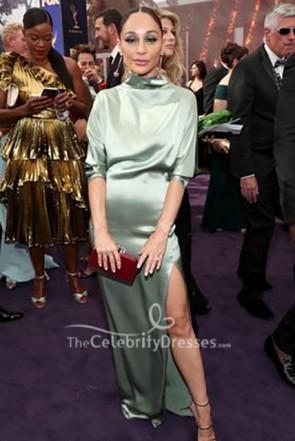 Cara Santana High Neck Mint Prom Dress 2019 Emmy Awards TCD8684