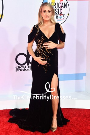 Carrie Underwood Black Cold-shoulder Maternity Evening Dress 2018 American Music Awards