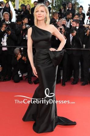 Cate Blanchett Black One-shoulder Sheath Formal Dress  2018 Cannes Film Festival Red Carpet