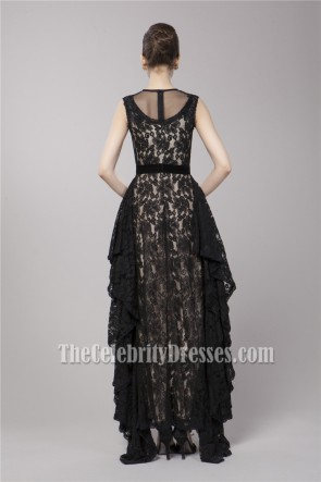Celebrity Inspired Black Lace Formal Evening Dress Prom Gown