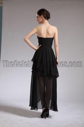 Longueur de la cheville noire robe de bal sans bretelles robe de bal