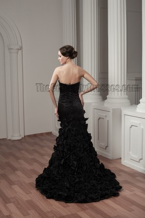 Celebrity Inspired Black Strapless Sweetheart Formal Dress Evening Gown