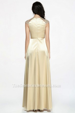 Celebrity Inspired Champagne Prom Gown Evening Dresses TCDBF071