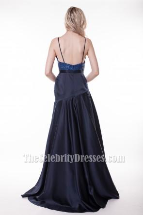 Celebrity Inspired Dark Navy Formal Dress Prom Gowns