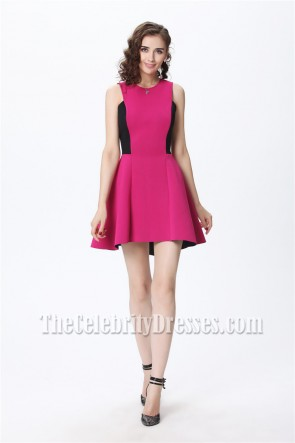 Celebrity Inspired Fuchsia And Black High Low Party Homecoming Dress