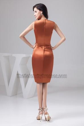 Celebrity Inspired Knee Length V-Neck Cocktail Party Dresses