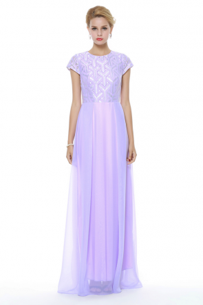 Celebrity Inspired Lilac Full Length Prom Gown Evening Dress