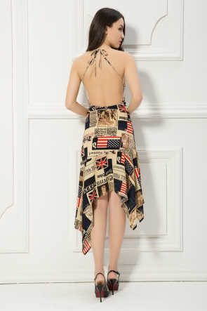 Celebrity Inspired Newspaper Backless Cocktail Sexy Party Dresses