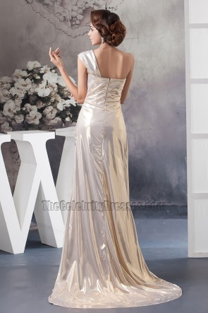 Celebrity Inspired One Shoulder Prom Gown Formal Dress With 3D Flower