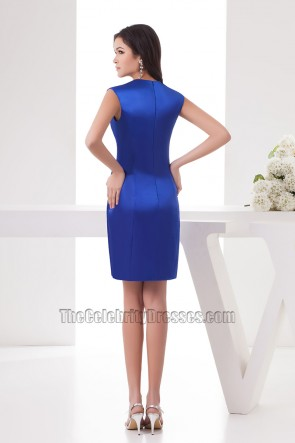 Celebrity Inspired Short Royal Blue Cocktail Party Dresses