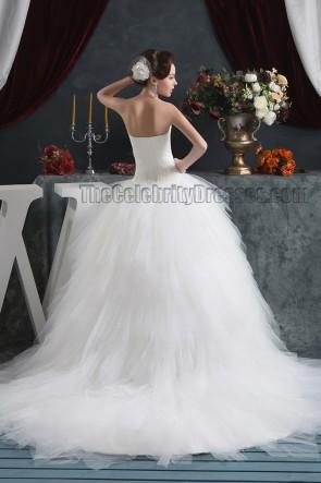 Strapless Sweetheart Ball Gown Chapel Train Wedding Dresses