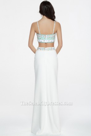 Celebrity Inspired White Beaded Two Pieces Evening Dress Prom Gown TCDBF072
