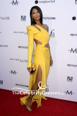 Chanel Iman Cut Out One Sleeve Thigh-high Slit Evening Dress 2019 Fashion Los Angeles Awards TCD8351