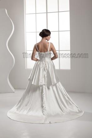 Elegant Chapel Train A-Line Silk Like Satin Wedding Dress