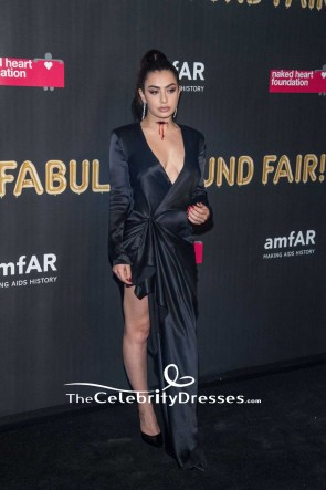 Charli XCX Black Warp Thigh-high Slit Evening Dress With Long Sleeves 2017 amfAR Fabulous Fund Fair