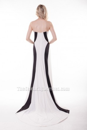 Charlize Theron Met Gala 2014 White And Black Strapless Formal Evening Dress Red Carpet TCDBF050