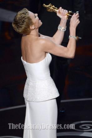 Charlize Theron White Formal Dress 2013 Oscar Red Carpet