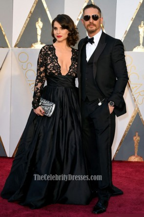 Charlotte Riley Sexy Black Evening Prom Gown Red Carpt  Formal Dress 2016 Oscars Academy Awards 1