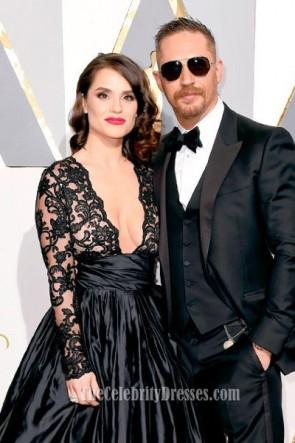 Charlotte Riley Sexy Noir Soirée De Bal Robe Rouge Tapis Formelle 2016 Oscars Oscars