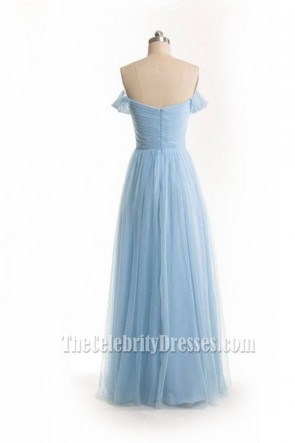 Charming Sky Blue Tulle Off-Shoulder Evening Gown Prom Dress TCDFD7458