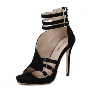 Cheap Black Ankle Strap Suede Stiletto Heels Women's Sandals