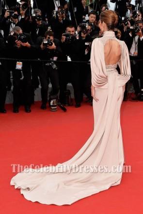 Cheryl Fernandez-Versini 2015 Festival du film de Cannes Robe de soirée longue brodée