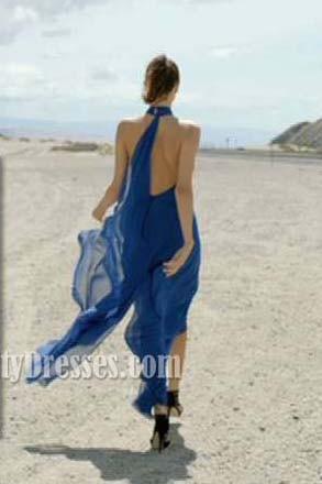 Miranda Kerr bleu royal en mousseline de soie Robes de soirée formelles