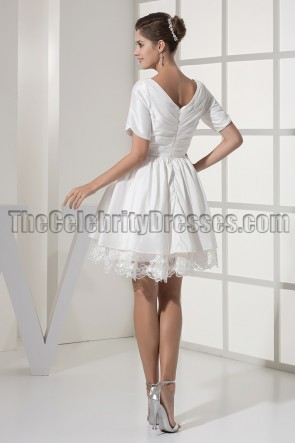 Ivory V-Neck A-Line Cocktail Party Homecoming Dresses