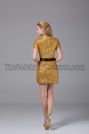 Mini Short Gold Sequined Party Homecoming Graduation Dresses