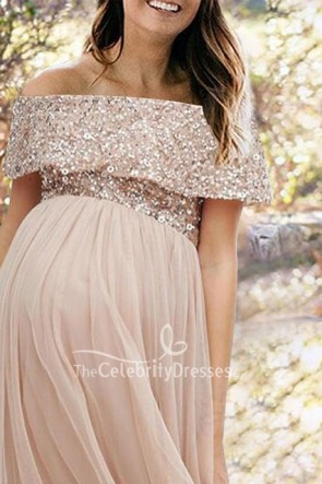 Chic Off Shoulder Sequin A-line Maternity Gown for Baby Shower