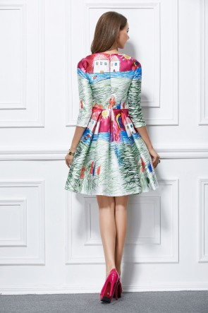 Chic Short Mini A-Line Print Party Homecoming Dresses TCDBF292