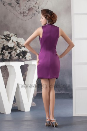 Chic Short Purple High Neck Party Homecoming Dresses