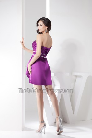 Chic Short Purple One Shoulder Party Homecoming Dresses