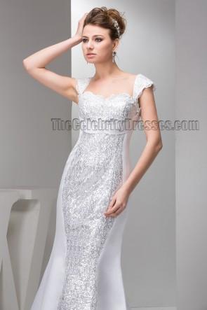 Chic Trumpet/Mermaid Sequins Cap Sleeve Wedding Dress